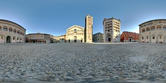 Piazza Duomo (Cristian Marchi) Tags: italy panorama church geotagged italia catholic cathedral centro 360 center chiesa immersive parma piazza duomo geotag battistero romanic spherical emiliaromagna baptistery cattedrale cattolica hugin equirectangular dfoupload anticando 360cities baptirstry