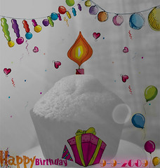 Happy Birtday (AyshaBintKhalid) Tags: bw me by photoshop nikon drawing balloon happybirthday p           992009    dm3tytem
