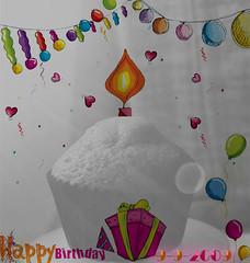 Happy Birtday (AyshaBintKhalid) Tags: bw me by photoshop nikon drawing balloon happybirthday p ميلاد يوم عيد قلب هههه هدية رسم ألوان كيكة قبعة 992009 قلوب كعكة بالونة dm3tytem نفافيخ نفاخة
