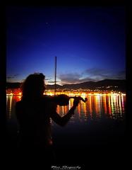 The violin girl (tolis*) Tags: blue music girl canon reflections island eos tripod tokina greece violin chios velbon 50d 1224f4 tolis