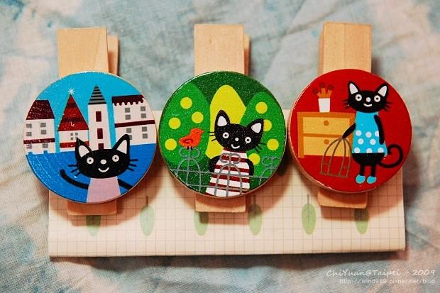[雜貨] Lovely wooden clip。黑貓小木夾(大創百貨DAISO)