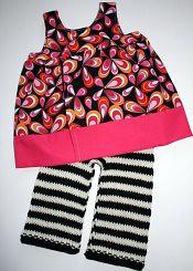 'Punk Rock Princess' set - Wrap Dress and Striped Longies - medium