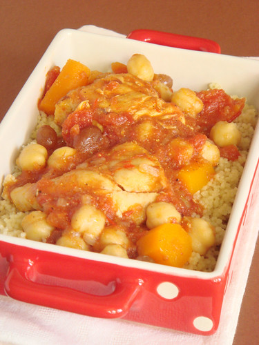 Tunisian chicken stew with couscous