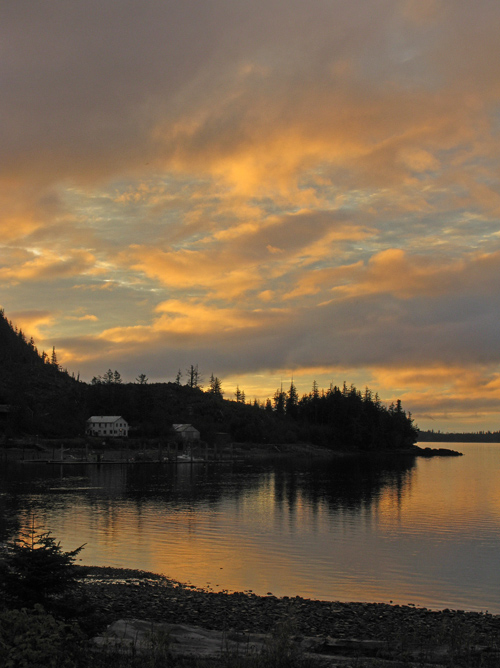 morning lights up clouds over Kasaan Harbor, Kasaan, Alaska