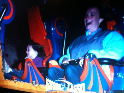 Rachel and Shelly on the Steel Lasso Rollercoaster at Frontier City