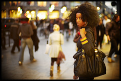 strong (futureancient) Tags: leica london twilight eyecontact bokeh pavement afro style sidewalk citylights hoops handbag w1 headband oxfordst m9 blackwoman shoplights noctiluxf10 leicam9 beforemybeatdown