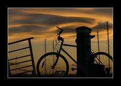 La Grande Motte, Sunset on the port (NathalieSt) Tags: sunset orange france bicycle silhouette yellow clouds port jaune landscape nuages velo contrejour coucherdesoleil lagrandemotte