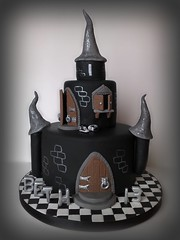 Beth's Black Castle Cake (SmallThingsIced) Tags: black gothic converse checkered checks woodendoors fondant victoriasponge castlecake smallthingsiced