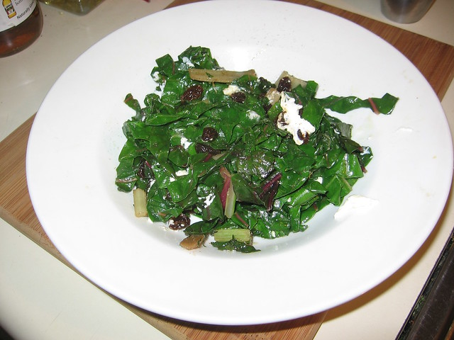 Chard w/raisins, garlic and goat cheese