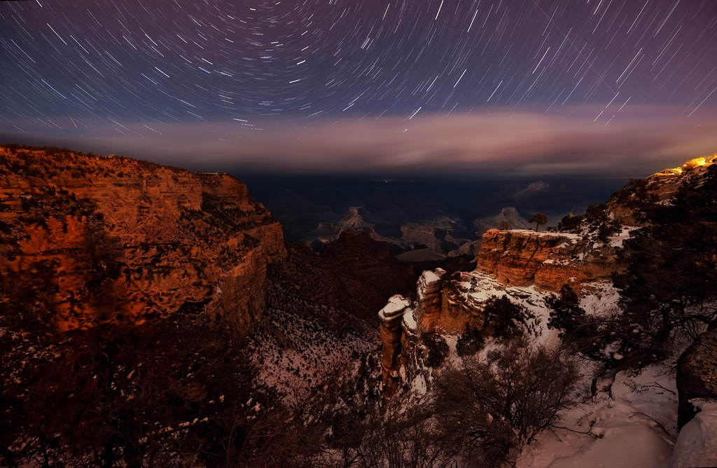 Star trails above the Grand Canyon
