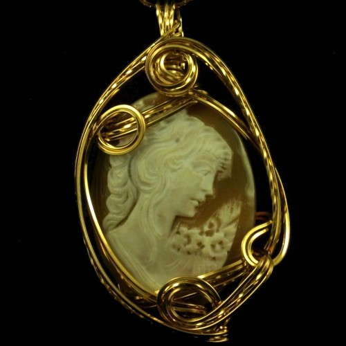 Large Shell Cameo & Gold Fill Wire Pendant by JewellerybyShalini