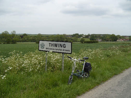 Thwing road sign