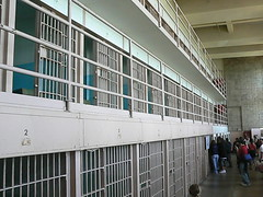 Prison corridor with cells inside Alcatraz main building san francisco california