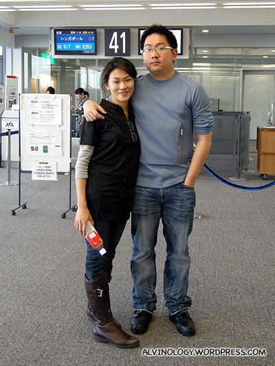Rachel and I by the departure gate