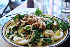 lunch at Effie's (KarenMarleneLarsen) Tags: nyc lunch salad bokeh eggs israeli uppereastside chickpeas roastedredpeppers visitingmike hbw efies 52309 utterlydelicious bokehwednesday spinack bakedchickenwrub hummusdressing