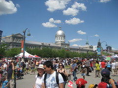 Crowds of Canadians celebrate Canada Day in Vieux-Montreal.
