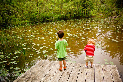Conner and Lilli fishing