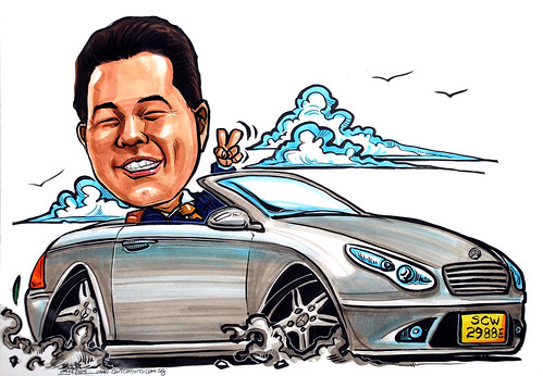 Boss caricature is Mercedes CLS