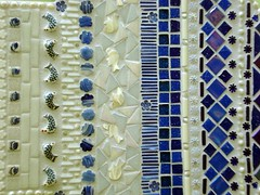Mosaic Art - Hamsa Hand Mosaic - detail (FreestyleMosaics) Tags: birthday nyc flowers blue white fish newyork art glass birds beads eyes colorful panel five mosaic decorative mosaics stainedglass gift pearl iridescent homedecor bugle hamsa khamsa freestylemosaics