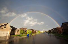 Under the Rainbow (Brady Withers) Tags: street blue red sky color green home clouds canon utah rainbow awesome prism wideangle saltlakecity doublerainbow primarycolors herriman sigma1020 herrimanutah fullrainbow rebelxsi bwsterlingphotography