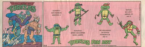 Teenage Mutant Ninja Turtles { newspaper strip } ..Ray Fillet v. Shredder..art by Lawson  :: 08181991