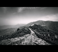 The Great Wall (Chee Seong) Tags: china bw tree clouds canon bricks beijing greatwallofchina canon1022mm 400d