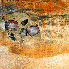 Skull in the sand (daliborlev) Tags: abstract texture wall square skull saturated eyes sand desert stones decay damage damaged oversaturated mundanedetail vividcolours letovicecastle zmekletovice