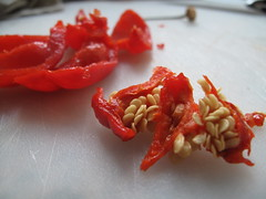 Deseeded chilies