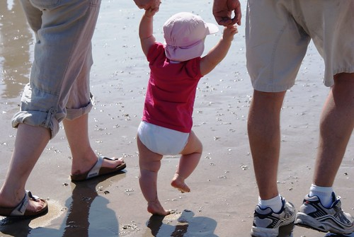 Luca's first steps on the beach