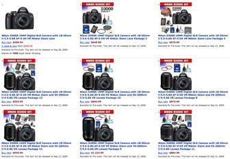 Nikon D3000 prices, availability and in-stock information