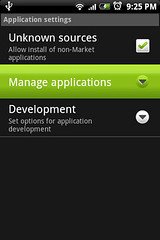 "Go into ""Manage applications"" to remove apps"