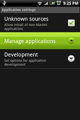 """进入""""Manage applications"""" to remove apps"""