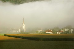 The Land of Dreams (our cultural archive) Tags: austria österreich earlymorning fog landscape valley alpine mountains church village dream oarsquare cate copenhaver