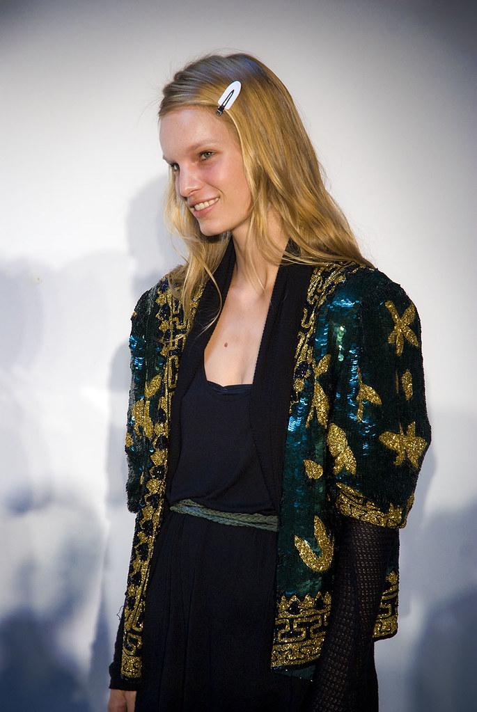 Model posing during fashion week, New York City