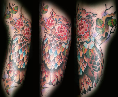 sugar skull tattoo. sugar skull owl tattoo
