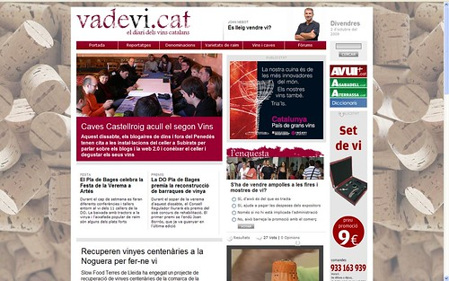 Portada vadevi.cat 2-10-09: 2n Vins&Blogs