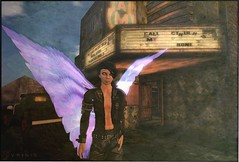 Still Waiting at the Damned Theater (Luminis Kanto) Tags: camp movie wings theater sl secondlife cthulhu luminis femboy