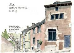 Liège, Degrés des Tisserands (gerard michel) Tags: sketch belgium dessin watercolour liège croquis