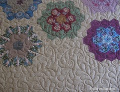 Grandmother's Flower Garden Quilt (QOB) Tags: quilt quilting longarm handpieced grandmothersflowergarden machinequilted quiltsonbastings