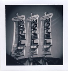 Hollywood Premier Motel (roostercoupon) Tags: california ca old bw white black film glass sign analog vintage print square lens polaroid la losangeles holga image side toycamera motel scan filter hollywood type instant series format positive split holgaroid 80 effect triple 85 twinlensreflex packfilm colortv peelapart 120tlr hollywoodpremier roidweek2009