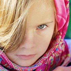 The Look (krispycrunch6) Tags: pink november scarf 50mm eyes nikon child gray daughter gratitude 2009 picnik oneword 30daysofgratitude