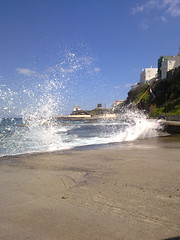 THE WAVES AT CHURCH (dimitra_milaiou) Tags: blue sky sun white church water stone museum architecture port island greek grey europe waves village view aegean hellas greece hora emotions ports andros cyclades dimitra hellenic    horaandros aigaio    plakoyres agiathalasini milaiou