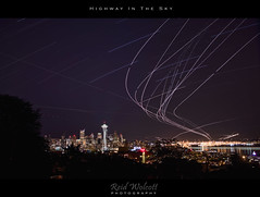 Startrails From Kerry Park (Reid Wolcott) Tags: seattle park city sky skyline night photoshop stars photography anne lights hill kerry queen planes startrails lightstreak