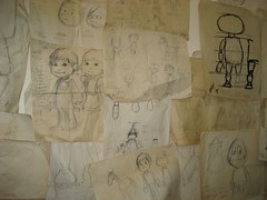 Original marionette sketches line the wall. (12/09/2007)