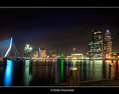 Rotterdam By Night - 1 (DolliaSH) Tags: city longexposure light urban haven holland color water colors dutch architecture night reflections river photography lights noche photo rotterdam europe foto nightshot photos nacht harbour tripod nederland thenetherlands wideangle explore le montevideo maas ultrawide nuit notte hdr stad erasmusbrug noch 1755 erasmusbridge photomatix 50d tonemapping nachtopname tonemap manhattanaandemaas canoneos50d canon50d detailsenhancer dollia dollias sheombar caononeos50d