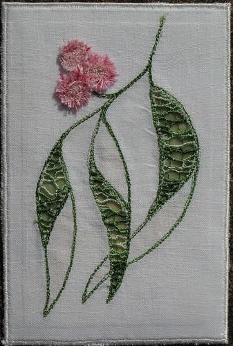 Gum leaf post card - machine needle weaving