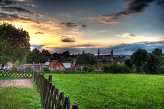 Sunset over Bamberg (Werner Kunz) Tags: trip travel blue vacation sky cloud sun white holiday green church beer clouds photoshop germany bayern deutschland bavaria europa europe european cathedral euro dom urlaub cyan churches eu himmel wolken kirchen wideangle bamberg franconia german stadt bier blau beergarden franken sonne weiss dri hdr wiesn hdri overview werner reise biergarten gemuetlichkeit kunz photomatix 20fav colorefex nikond90 topazadjust werkunz1