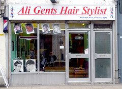Ali Gents Hair Stylist, Roman Road E3 (Emily Webber) Tags: london ali shops e3 alis hairdressers romanroad bethnalgreen shopfronts towerhamlets londonshopfronts londonshopfront flookart