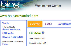 screen shot of old version of Bing Webmaster Center