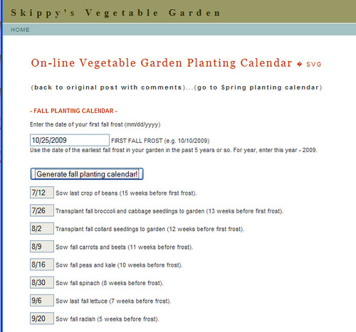 fall planting calendar